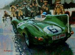 Mike Hawthorn. Le Mans 1955. Jaguar D-Type. original painting