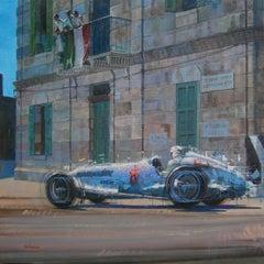 """Rudolf Caracciola"" original realist acrylic canvas painting"