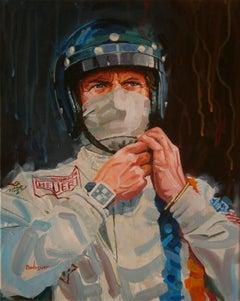 """Steve McQueen as Michael Delaney """"Le Mans"""" film 1970 original canvas painting"""
