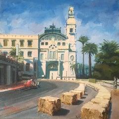 """Tony Brooks . Ferrari D246. Virage de Massenet 1959"" original acrylic painting"