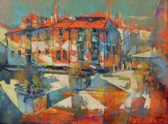 Come to Venice - contemporary Italian Venice townscape oil painting