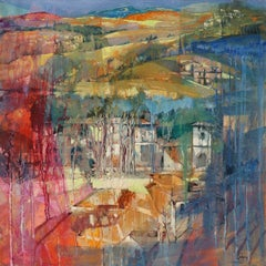 Houses among the Trees in Tuscany - contemporary Italian landscape oil painting