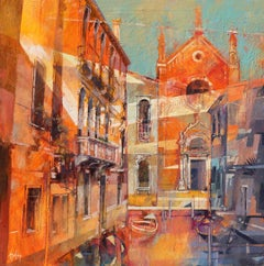I Silenzi del Canale (Venice) - contemporary Italy townscape oil painting