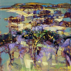 Le meilleur moment - contemporary Italian Tuscany landscape violet lemon trees