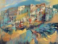 Light Illuminating Monopoli - contemporary Italy townscape oil painting