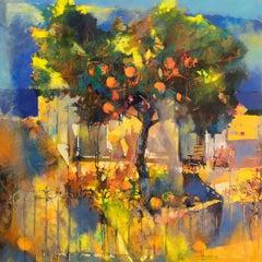 My Orange Garden - contemporary nature bright tree oil painting