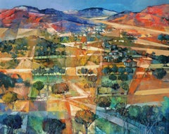 Red Hills in Tuscany - contemporary Italian landscape oil painting