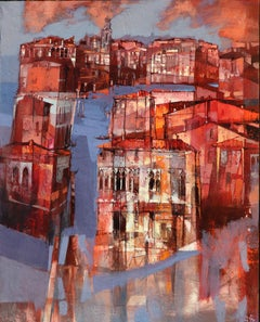 Red Venice - contemporary Italian architecture townscape oil painting