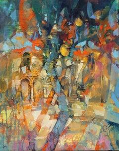 Sicilian House - contemporary lemon tree oil painting Italian landscape