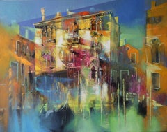 Sunlight on Stern Palace, Venice - contemporary Italian townscape oil painting