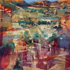 Where the rainbow is born - contemporary Italian Tuscany landscape oil painting
