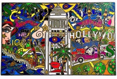 L.A.! HOLLYWOOD Signed Lithograph, Fluorescent Colors, Pop Art, Los Angeles