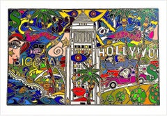 L.A.! HOLLYWOOD Signed Lithograph, Los Angeles Icons, Pop Art L.A. Landscape