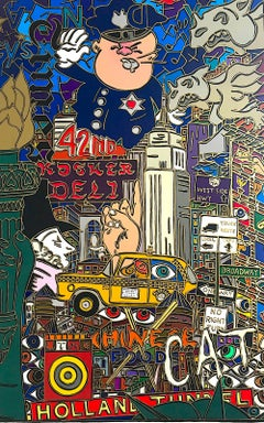 THE BIG APPLE, NEW YORK CITY Signed Lithograph, Police, Taxi, Pop Art