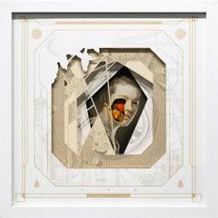 """""""Decennium"""", Layered, Hand-Cut Paper Collage, Beige, White, Orange"""