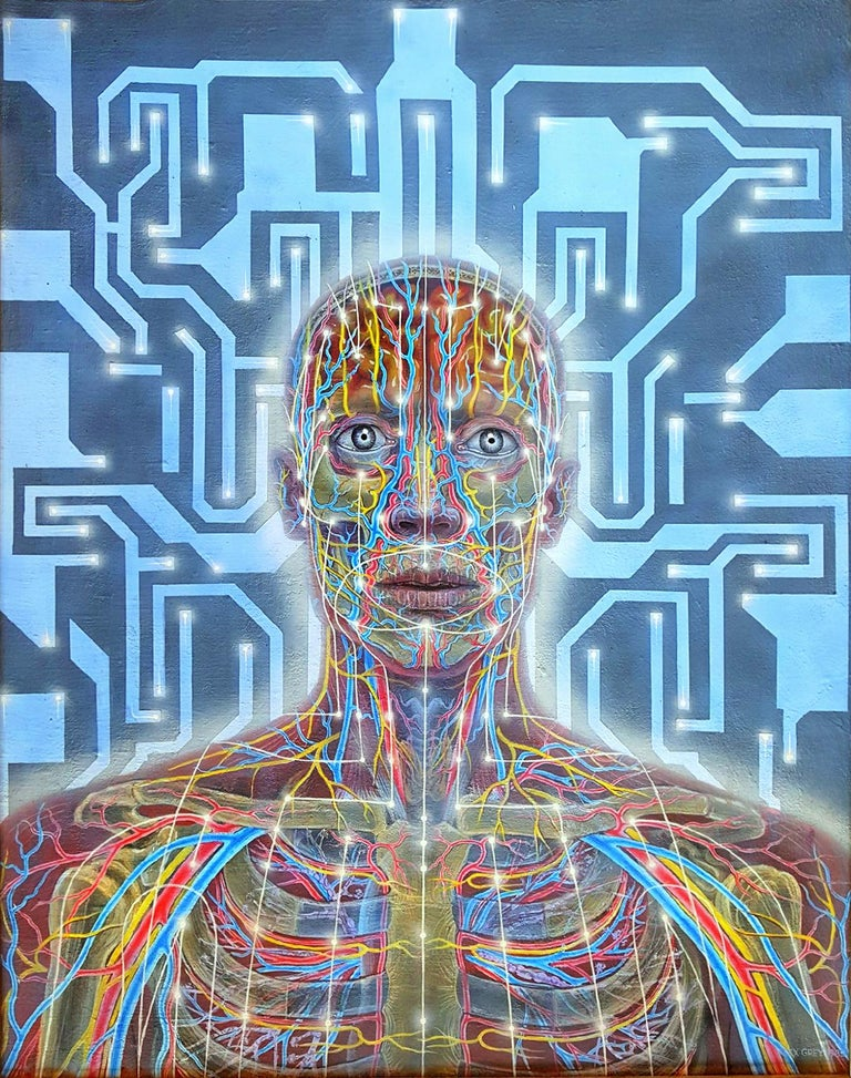 Alex Grey Figurative Painting - Networks - Psychedelic Man