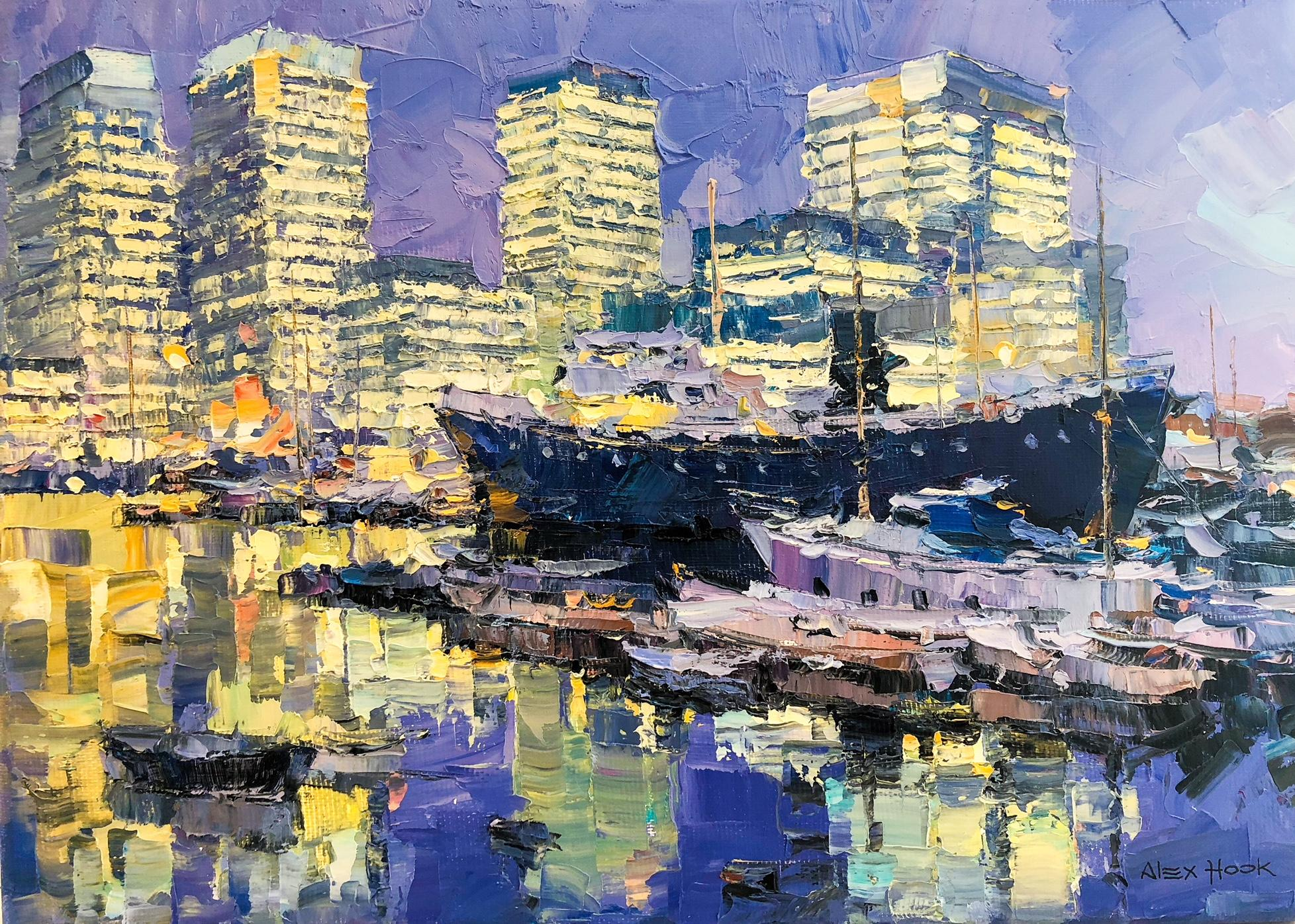 Canary Wharf -abstract cityscape London England modern oil painting contemporary