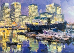 Canary Wharf - abstract London cityscape modern oil painting boats architecture