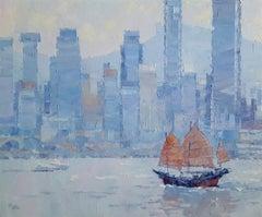 Hong Kong Haze - abstract textured landscape oil painting Contemporary Art 21st
