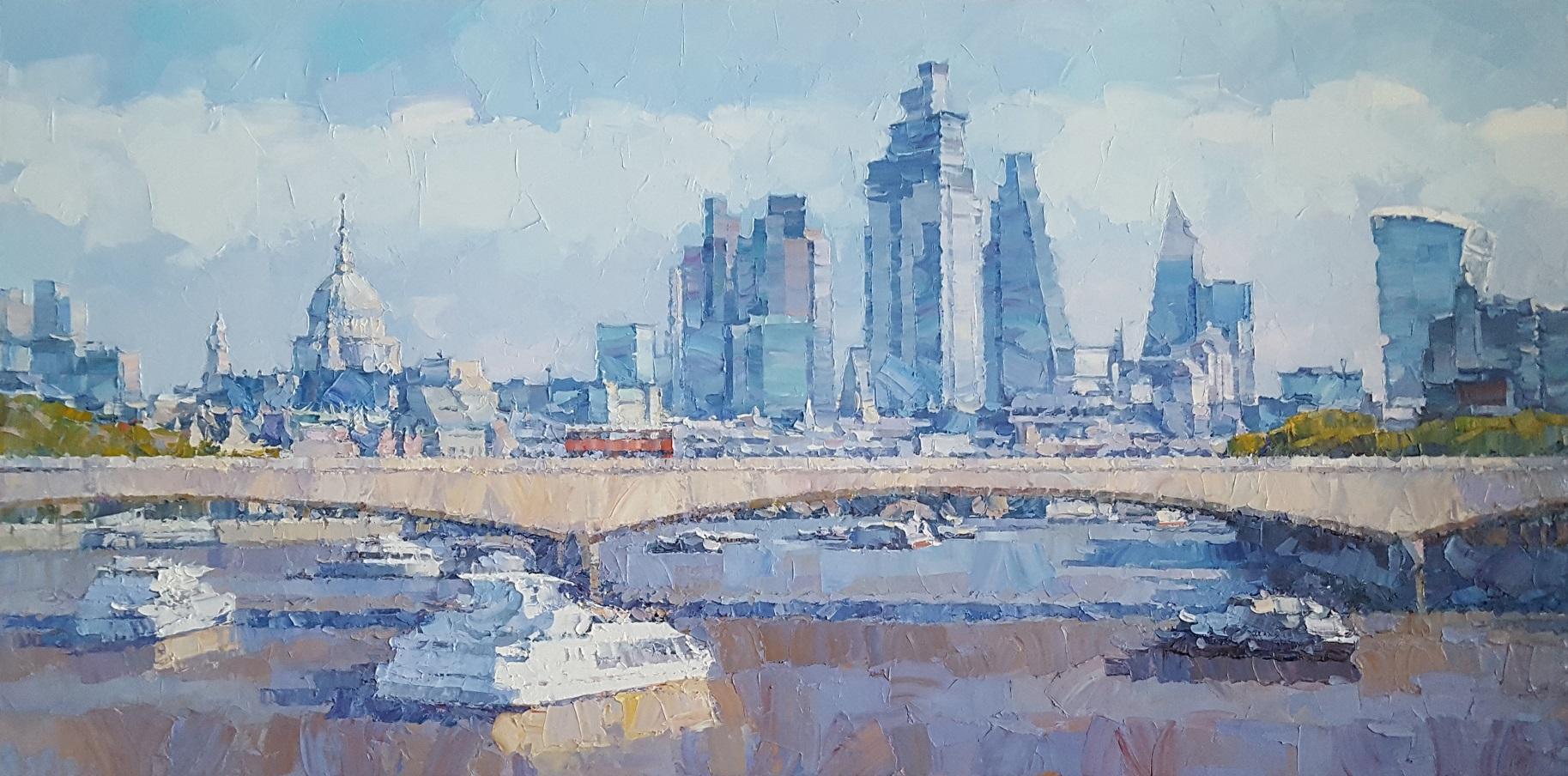 London St Pauls - block colours blue City landscape painting modern Contemporary