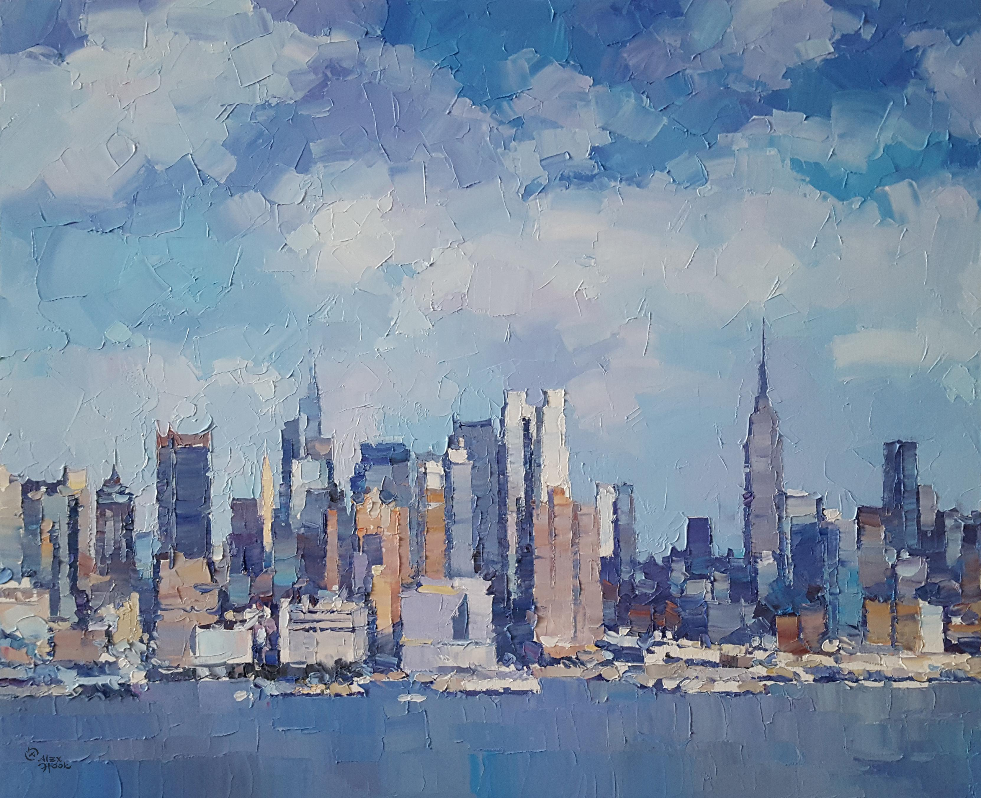 New York City 12 - abstract landscape blue sea oil painting modern contemporary
