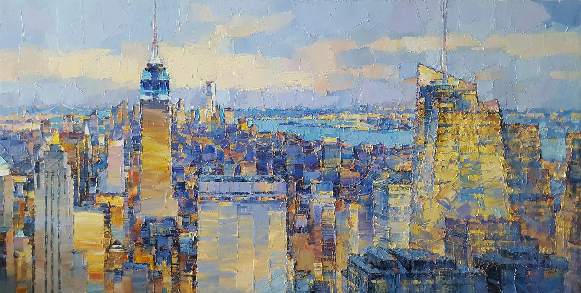 Panorama of NYC - abstract American city landscape block painting Contemporary