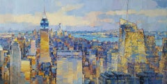 Panorama of NYC - abstract city sky landscape painting Contemporary Art 21st