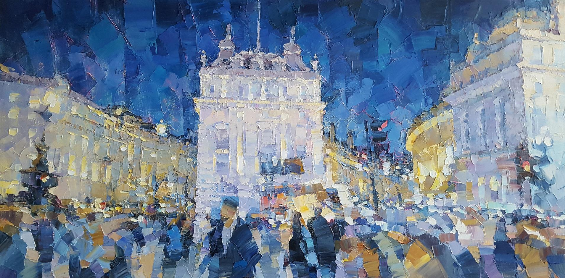 Piccadilly at Night - City landscape England, London oil painting contemporary