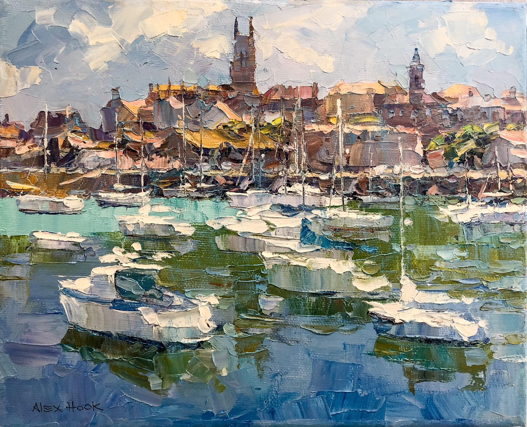 Sailing in Majorca -abstract landscape oil painting Contemporary Art boats sea