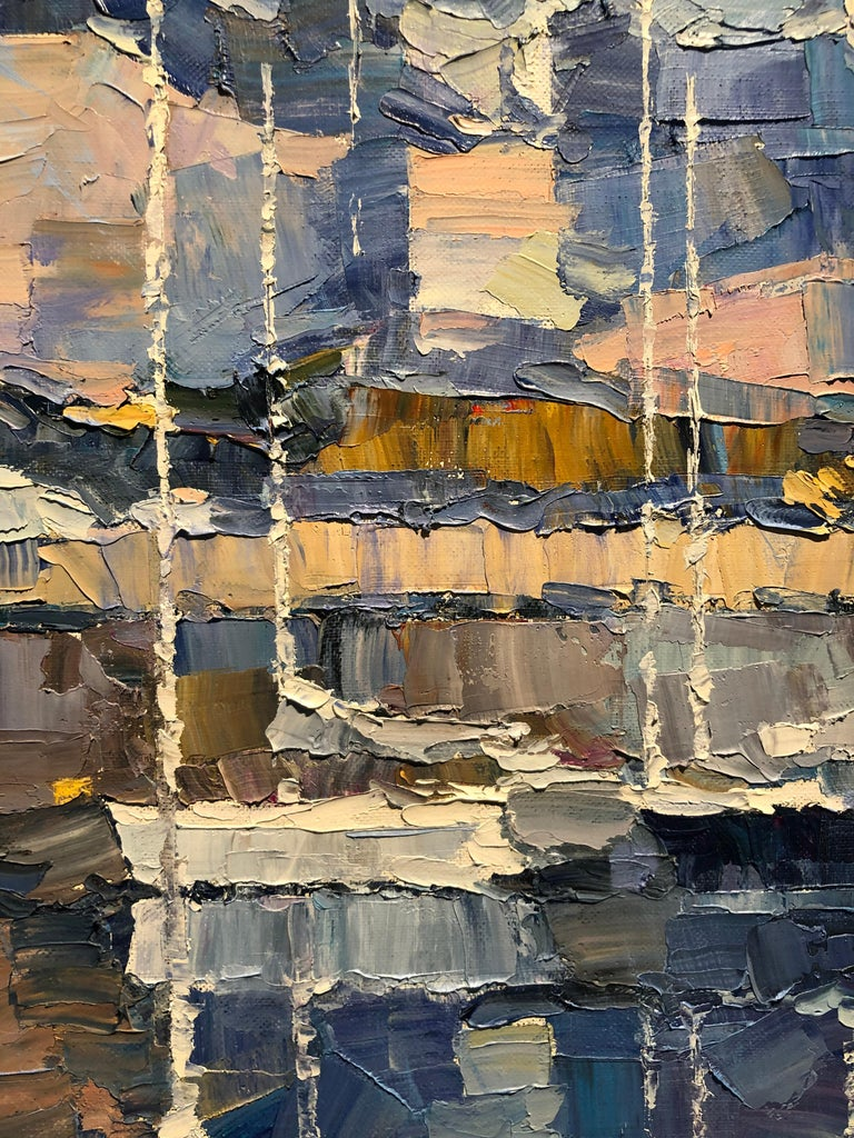 The Great City of London-Original cityscape oil painting Contemporary 21st C Art - Gray Abstract Painting by Alex Hook Krioutchkov
