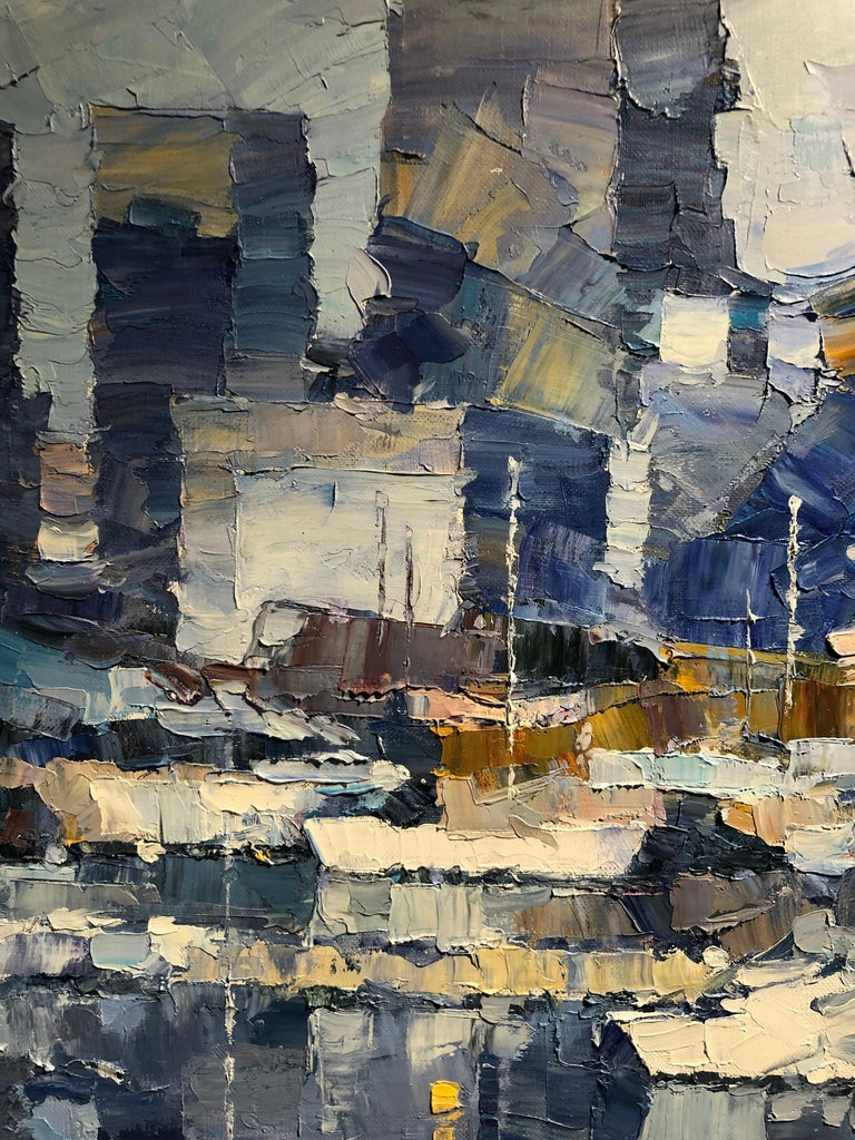 The original Abstract cityscape Painting by Alex Hook is painted on deep edge stretched canvas. It is signed, stringed and ready to be displayed. In this painting, the artist captures an iconic London scene; the river Thames reflecting the bustling
