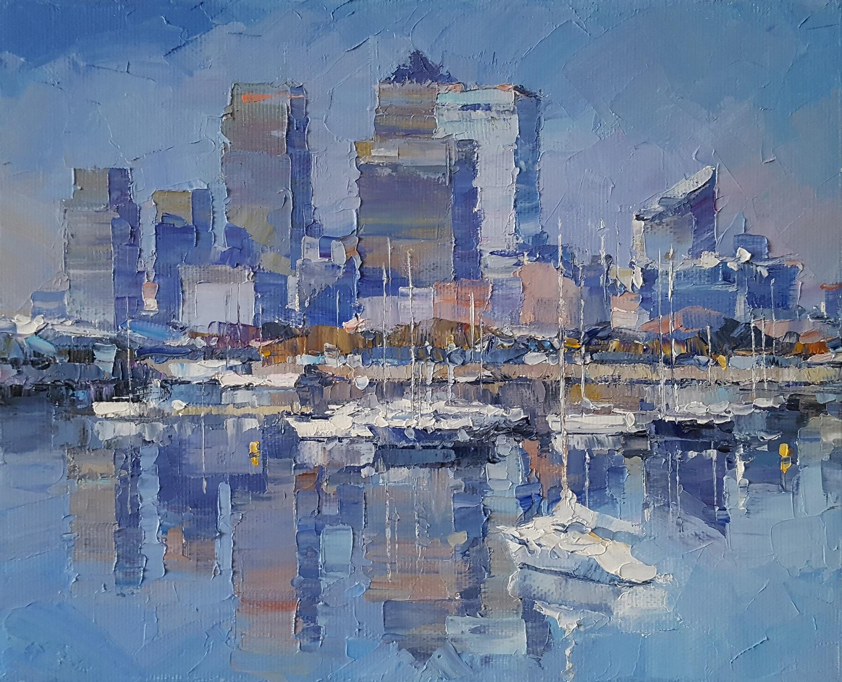 The Great City of London - Original England City skyscape painting Contemporary
