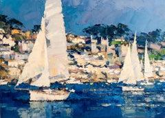 Yachts Sailing - abstract landscape painting sailboats contemporary art 21st C