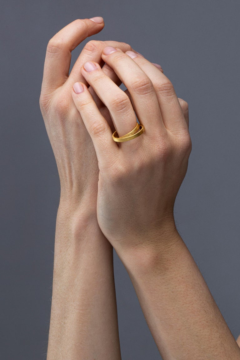 Alex Jona design collection, hand crafted in Italy, 18 karat rough frosted yellow gold double circle ring. Ring Size: 12EU/6US. Dimensions: H 0.77in/19.6mm, W 0.71in  /  18mm, D 0.17in/4.52mm. Alex Jona jewels stand out, not only for their special