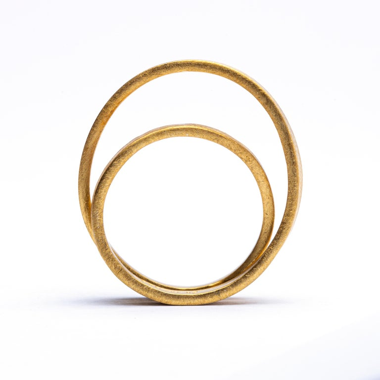 Contemporary Alex Jona 18 Karat Frosted Yellow Gold Double Circle Ring For Sale