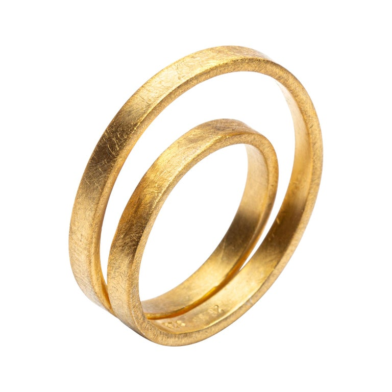 Alex Jona 18 Karat Frosted Yellow Gold Double Circle Ring For Sale