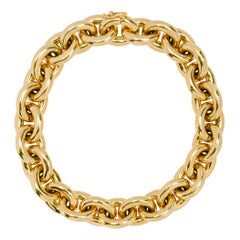 Alex Jona 18 Karat Yellow Gold Hand Made Heavy Chain Link Bracelet