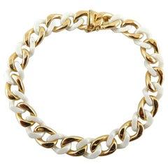 Alex Jona 18 Karat Yellow Gold & High-Tech White Ceramic Curb-Link Bracelet