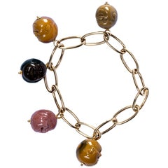 Alex Jona 18 Karat Yellow Gold Jasper Smile Face Chain Bracelet
