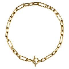 Alex Jona 18 Karat Yellow Gold Toggle Bar Link Chain Necklace