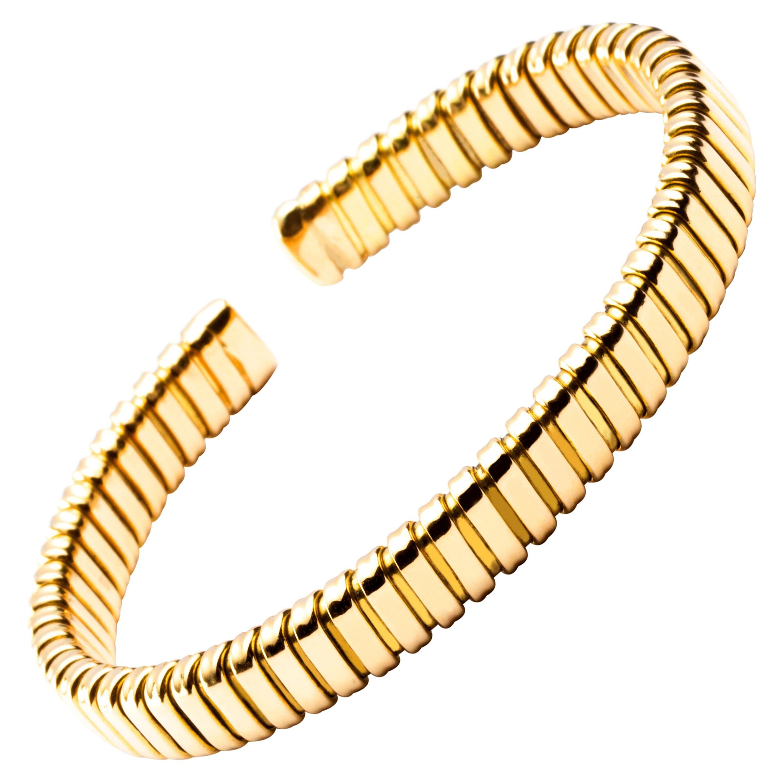 Alex Jona 18 Karat Yellow Gold Tubogas Bangle Bracelet