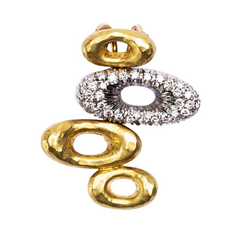 Alex Jona 18 Karat Yellow Gold White Diamond Pendant Choker Necklace In New Condition For Sale In Torino, IT