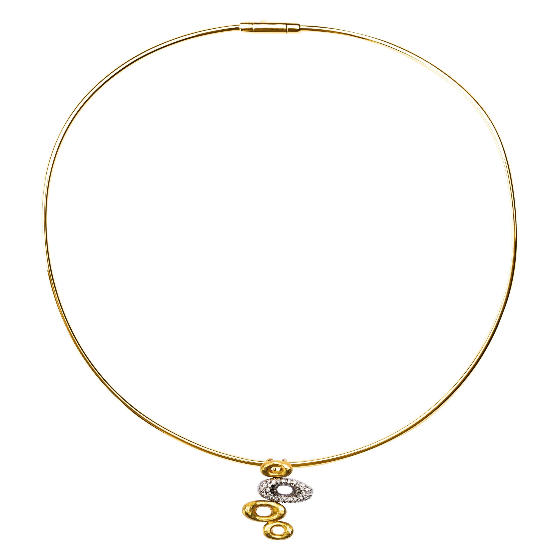 Alex Jona 18 Karat Yellow Gold White Diamond Pendant Choker Necklace