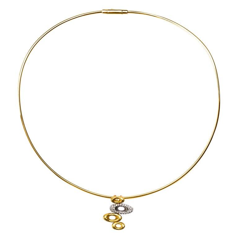 Alex Jona 18 Karat Yellow Gold White Diamond Pendant Choker Necklace For Sale