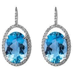 Alex Jona Acquamarine White Diamond 18 Karat White Gold Pair of Pendant Earrings