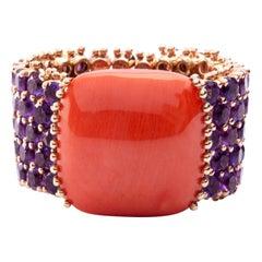 Alex Jona Amethyst and Mediterranean Coral 18 Karat Rose Gold Band Ring