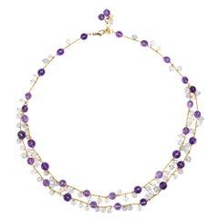 Alex Jona Amethyst Chalcedony Rose Quartz 18 Karat Yellow Gold Necklace