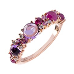 Alex Jona Amethyst Ruby White Diamond Pink Sapphire 18 Karat Rose Gold Band Ring