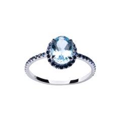 Alex Jona Aquamarine Blue Sapphire White Gold Solitaire Ring