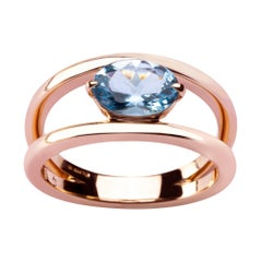 Alex Jona Aquamarine Rose Gold Solitaire Ring